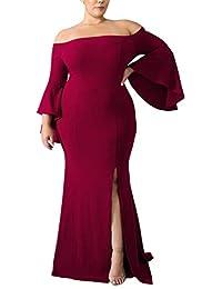Women's Plus Size Off Shoulder Bodycon Long Evening Party...
