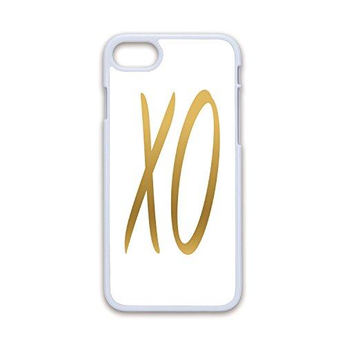 (Phone Case Compatible with iPhone7 iPhone8 White Soft Edges 2D Print,Xo Decor,Love Affection Happy Joyful Good Friendship Romance Sign Letters Artistic Design Decorative,Gold White,Hard Plastic P)