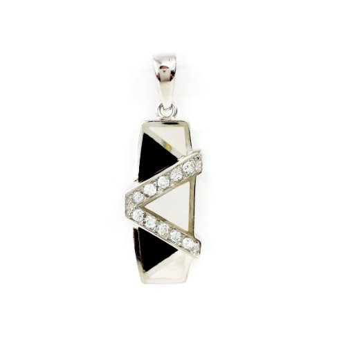 Mother Of Pearl Triangle Pendant - .925 Sterling Silver black & white Onyx Mother-of-Pearl color block CZ Pendant Charm 18