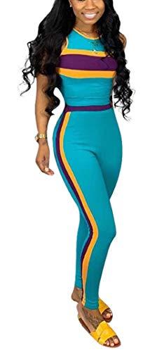 Women 2 Piece Outfits Striped Patchwork Shirt Top Long Pants Leggings Sport Set Tracksuits