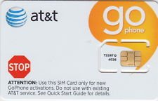 1 LOT of 5 NEW AT&T PREPAID GO PHONE 3G SIM CARD READY TO ACTIVATE, SKU 72287