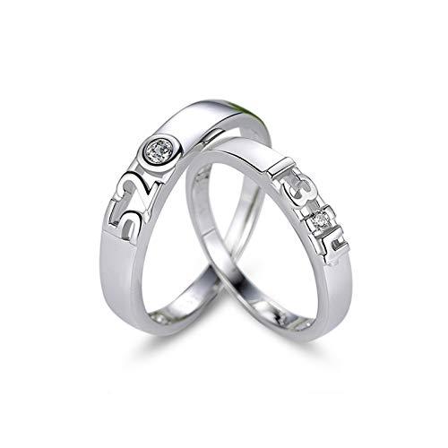 KnSam 2 Matching Rings Wedding Silver Round Cz Digital Engraved Ring Opening Women Size 7.5 & Men Size 9 ()