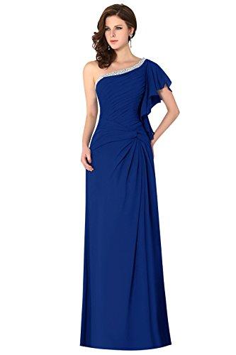 Dasior Les Cristaux De Femmes Une Manche Drapée Épaule Ruché Robe De Demoiselle D'honneur En Mousseline De Soie Noeud Bleu Royal