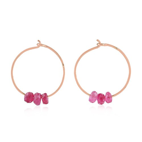 18K Rose Gold Natural Ruby Beads Tiny Huggie Hoop Earrings (12 mm diameter)