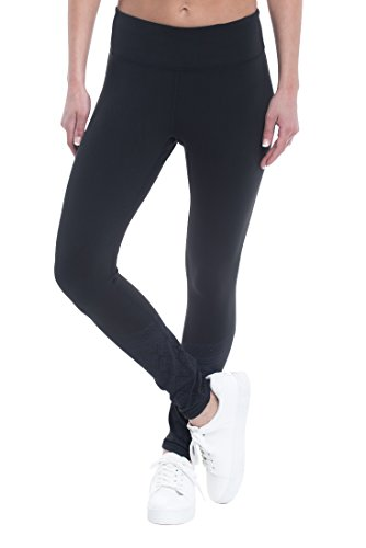 GAIAM Women's Zoey 7/8 Legging Performance Compression Pant With Foldover Waistband - Black Tap, Medium