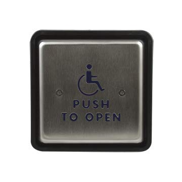 Bea 10PBS451 Push Plate 4-1/2inch Square inchPush to Openinch Text and Handicap Logo