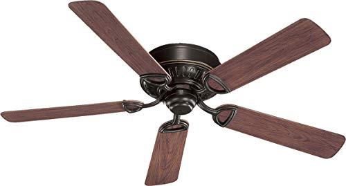 (Quorum International 151525-95 Medallion Flush Mount Patio Ceiling Fan with Walnut Blades, 52-Inch, Old World Finish)