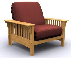 Santa Barbara Single Futon Chair Bed   Golden Oak