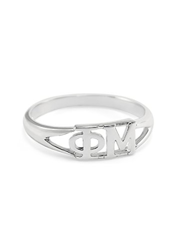 The Collegiate Standard Phi Mu Sorority Ring with Greek cut-out letters size 7