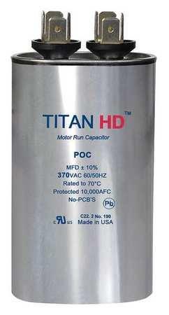 Motor Run Capacitor, 7.5 MFD, 370V, Oval by TITAN HD