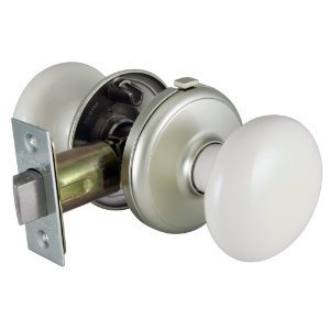 Porcelain White Nickel - Gainsborough Genuine Porcelain Door Knob Set (Locking Bed & Bath, White Porcelain & Satin Nickel)