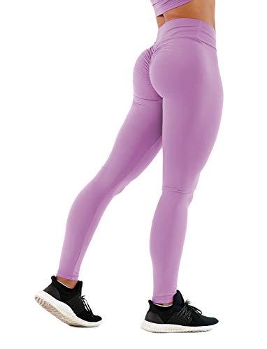 SEASUM Women Scrunch Butt Yoga Pants Leggings High Waist Waistband Workout Sport Fitness Gym Tights Push Up M