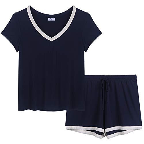 Joyaria Womens Bamboo Pajama Sets V Neck Short Sleeve Pj with Shorts & Pants(Navy,Large) (Best Pajamas For Night Sweats)
