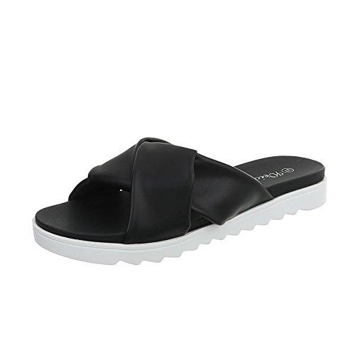 Ital Mules Design Yrt6728 Sandales Femme Noir Chaussures Plat BBv4r