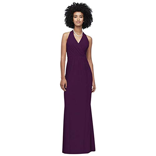 Faux-Wrap Mesh Halter Bridesmaid Dress Style F19836, Plum, 8
