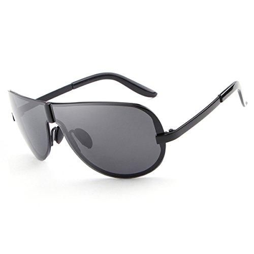 HDCRAFTER Men's Fashion Oversized Rimless Sunglasses Polarized Goggles 72mm E008 (Black, - Ball Sunglasses Tennis