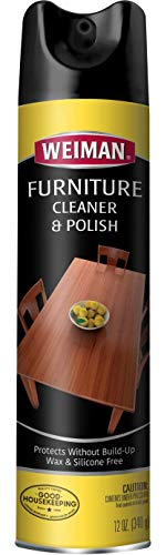 Weiman Wood & Furniture Cleaner & Polish - 12 Ounce - Aerosol Protect Clean Polish Wax Your Wood Tables Chairs Cabinets