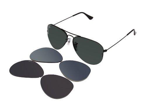 264e0712d2 New Ray Ban RB3460 002 71 Aviator Flip Out Black Interchangeable 56mm  Polarized Sunglasses  Amazon.ca  Shoes   Handbags