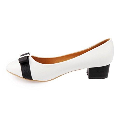 La Modeuse-Bailarinas con tacón de piel sintética con tapa, de punta redonda Blanco - blanco