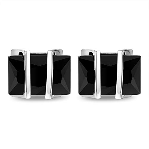 Cat Eye Jewels Men's Cufflinks Glass Crystal Square for Luxurious Tuxedo Formal Shirts Black ()