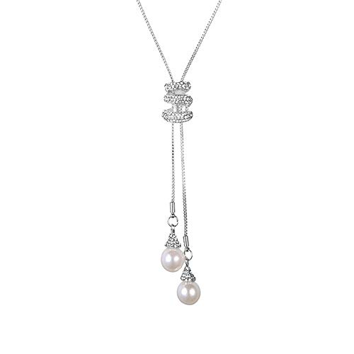 (Cleacloud Pearl Rhinestone Pendant Long Necklace Women Crystal Pendant Girls Tassel Layered Chain Charms Jewelry Silver)