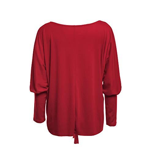 Shirt paule Cou Hors Chemises Dentelle Bottom Tonsee Top Rouge Blouse Longues Manches Femme Slash Lache OnZqw