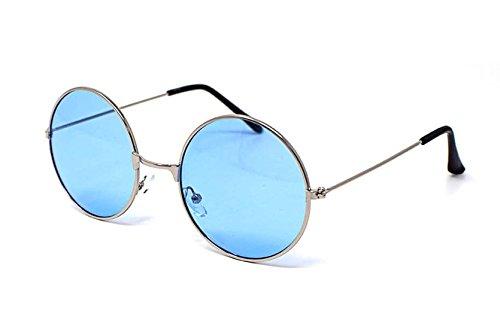Silver Frame with Blue Lenses Adults Retro Round Sunglasses John Lennon Style Vintage Look Quality UV400 John Lennon Style for Men - John Blue Glasses Elton