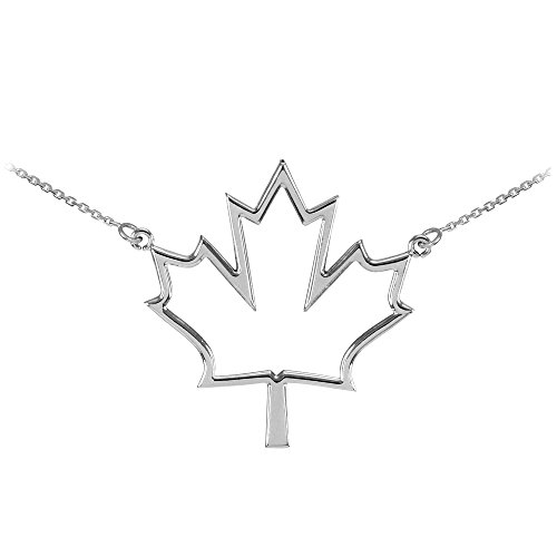 Polished 925 Sterling Silver Open Design Maple Leaf Necklace, 16