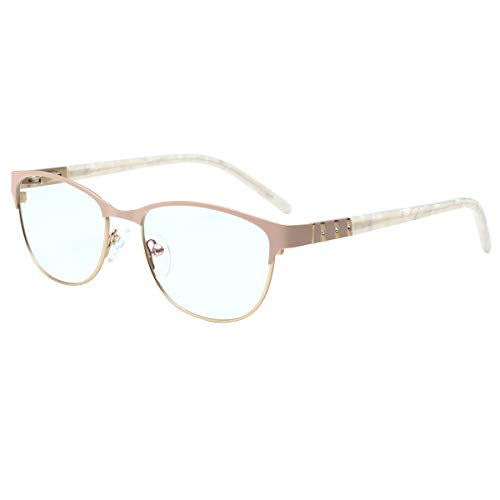 High Quality Ladies Blue Light Filter Readers Eyewear Frame Half Frame Reading Glasses with Rhinestones SK-0019 Pink/2.50