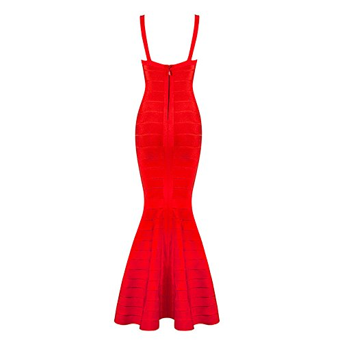 Mermaid Bandage Hlbandage Straps Rayon Backless Rouge Dress Fishtail Spaghetti Ra6T6wcBqP