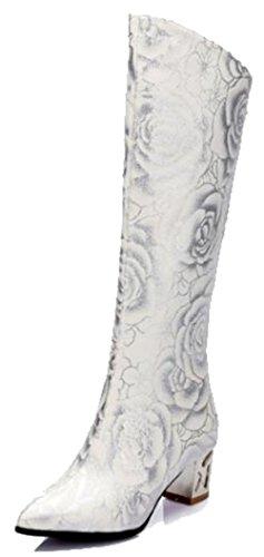 Easemax Womens Fleur À La Mode Imprimé Bout Pointu Mi Chunky Talon Fermeture Éclair Haut Top Bottes Blanc