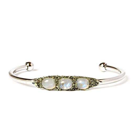 Boho Raw Crystal Cuff Bracelet Jewelry with Birthstone Gemstone Rainbow Moonstone