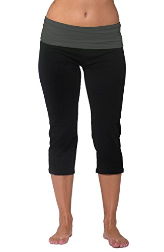 Nouveau Womens Workout Active Capri Yoga Pant with Contrasting Color Waistband Casual Loungewear For Ladies - Black, Large