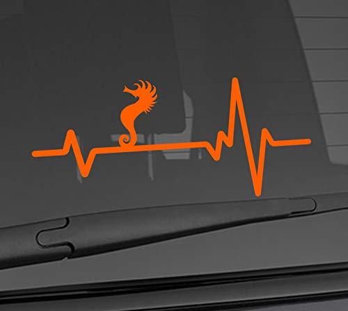 "Heart Beat Line Heartbeat Animal Tribal SEA Horse Seahorse Bony Fish Love Car Vinyl Sticker Wall Decal 3.75"" x 8"" (Regular Orange)(Available in 20 Vinyl Colors)"