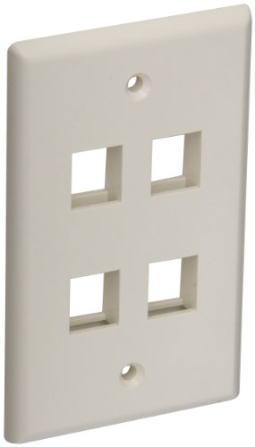 Hellermann Tyton FPQUAD-FW Standard Single Gang 4 Port Faceplate, ABS 94V-0, Office White