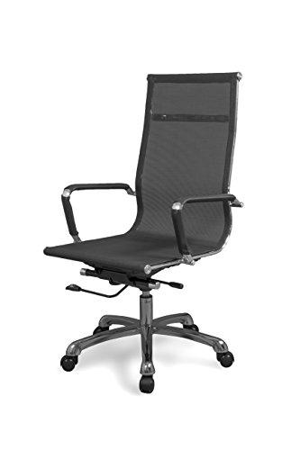 duehome Silla de Oficina, sillon para despacho o Estudio, Medidas: 58x108x62,5 cm, Color Negro