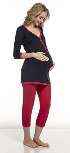 Happy Mama. Damen Umstandspyjama Stillfunktion Gekürzte Hose Top Kurzarm. 213p (Marine & Fuchsie, EU 42/44, XL)