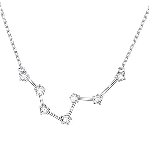 """FLYOW Constellation Necklace 925 Sterling Silver CZ Horoscope Zodiac Constellation Pendant Necklace for Women,18"""" (Pisces)"""