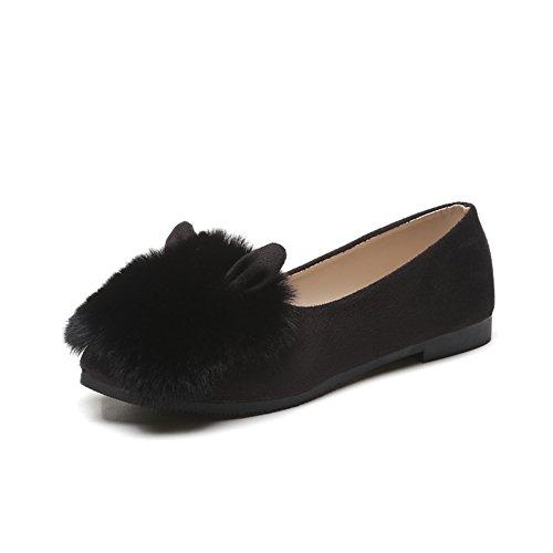 Koreanische Version Von Lady Shoes,Wildleder Schuhe Mit Flachem Mund,Flache Erbsen Und bohnen-Schuhe A