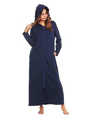 Langle Women's Long Robe Plus Size Sleepwear Long Sleeve Nightgown Hooded Bathrobe S-XXL