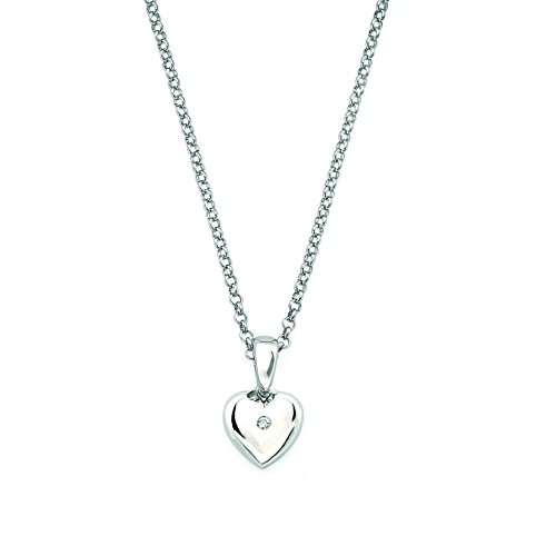 Little Diva Diamonds 925 Sterling Silver .01 Cttw Diamond Accent Heart Pendant Necklace for Girls (I Color, I1 Clarity)