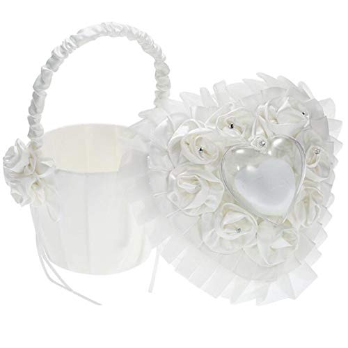 VAlink Western-Style Wedding Flower Girl Basket&Ring Pillow Cushion Bearer Set, Handmade Rose Flowers Bridal Basket, Heart-Shape Ring Bearer Pillow Cushion Holder,Wedding Decoration Supplies,Ring Box