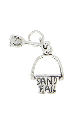 Sterling Silver 3D Beach Sand Pail Bucket & Shovel Charm OR Pendant Jewelry Making Supply Pendant Bracelet DIY Crafting by Wholesale Charms ()