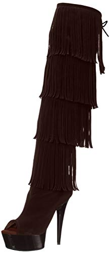 The Highest Heel Women's Amber 305 Thigh High Open Toe Microsuede Fringe Boot Over The Knee, Brown, 8 M US ()