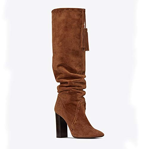 Brown Femmes Noire Élégant Talon Daim Houppe Cuisse Moderne Bloc Hiver Marron L'automne Chaussures Haute Bottes Haute UwASxUaqC