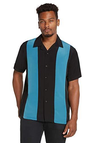 9 Crowns Men's Retro Bowling Bahama Camp Button-Down Shirt-Black/Teal-2XL ()