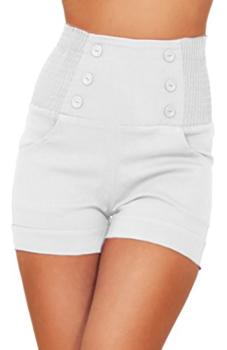 High Waisted Sophisticated Trendy Chic Front Button Vintage Inspired Shorts,Snow (Snow White Inspired Outfit)
