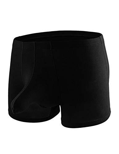YuKaiChen Men's Ice Silk Trunks Underwear Elephant Bulge Lingerie Boxer Briefs Short Leg Knickers Underwear Black US M/Tag L ()