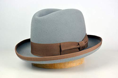 Brim Homburg - The Earl - Rabbit Fur Felt Handmade Homburg Fedora Hat - Medium Brim - Men