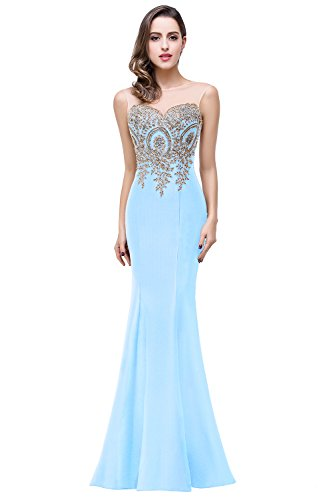 New Gown Quinceanera (Womens Formal Mermaid Lace Maxi Long Quinceanera Dresses,Light Blue,Size 14)